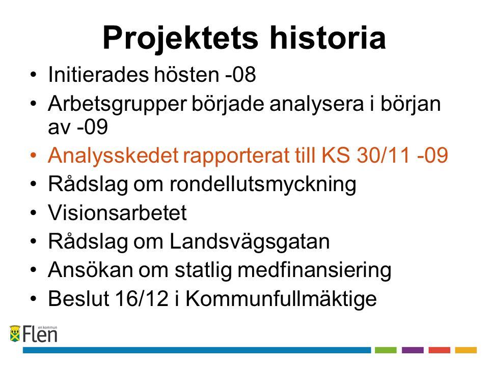 Projektets historia Initierades hösten -08 Arbetsgrupper började analysera i början av -09 Analysskedet rapporterat till KS 30/11 -09 Rådslag om ronde