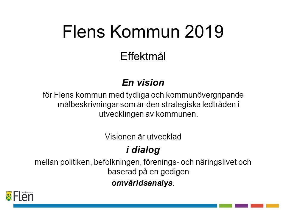 Flens Kommun 2019 Effektmål En vision för Flens kommun med tydliga och kommunövergripande målbeskrivningar som är den strategiska ledtråden i utveckli