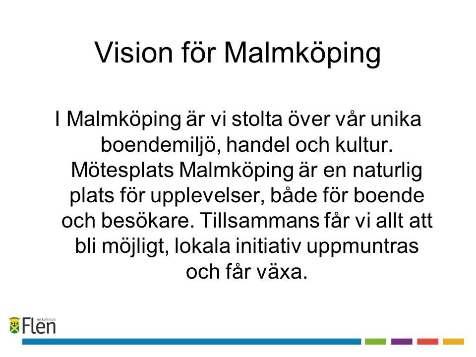 Vision för Malmköping I Malmköping är vi stolta över vår unika boendemiljö, handel och kultur. Mötesplats Malmköping är en naturlig plats för upplevel