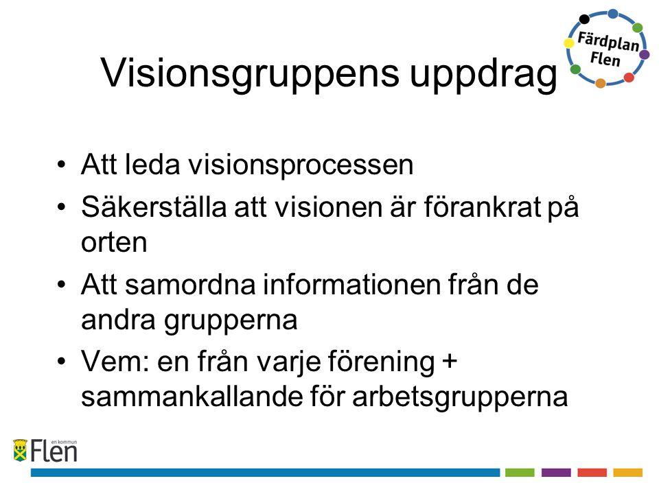 Visionsgruppens uppdrag Att leda visionsprocessen Säkerställa att visionen är förankrat på orten Att samordna informationen från de andra grupperna Vem: en från varje förening + sammankallande för arbetsgrupperna