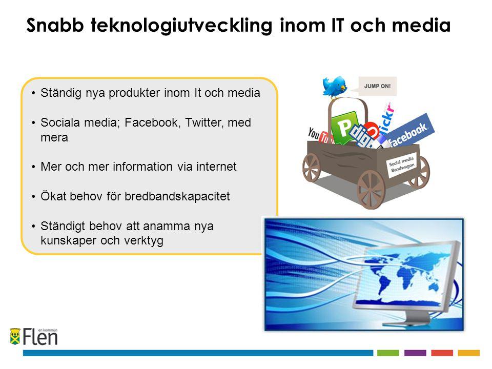 Ständig nya produkter inom It och media Sociala media; Facebook, Twitter, med mera Mer och mer information via internet Ökat behov för bredbandskapacitet Ständigt behov att anamma nya kunskaper och verktyg Snabb teknologiutveckling inom IT och media