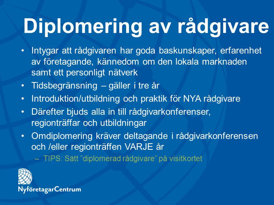 Diplomering av rådgivare Intygar att rådgivaren har goda baskunskaper, erfarenhet av företagande, kännedom om den lokala marknaden samt ett personligt