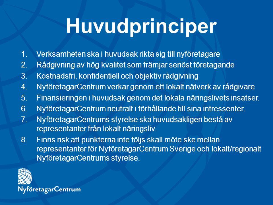 Huvudprinciper 1.Verksamheten ska i huvudsak rikta sig till nyföretagare 2.Rådgivning av hög kvalitet som främjar seriöst företagande 3.Kostnadsfri, k