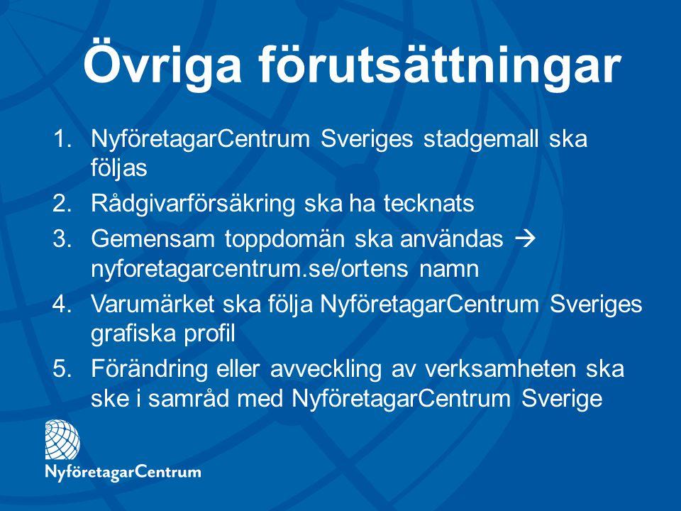 Övriga förutsättningar 1.NyföretagarCentrum Sveriges stadgemall ska följas 2.Rådgivarförsäkring ska ha tecknats 3.Gemensam toppdomän ska användas  ny