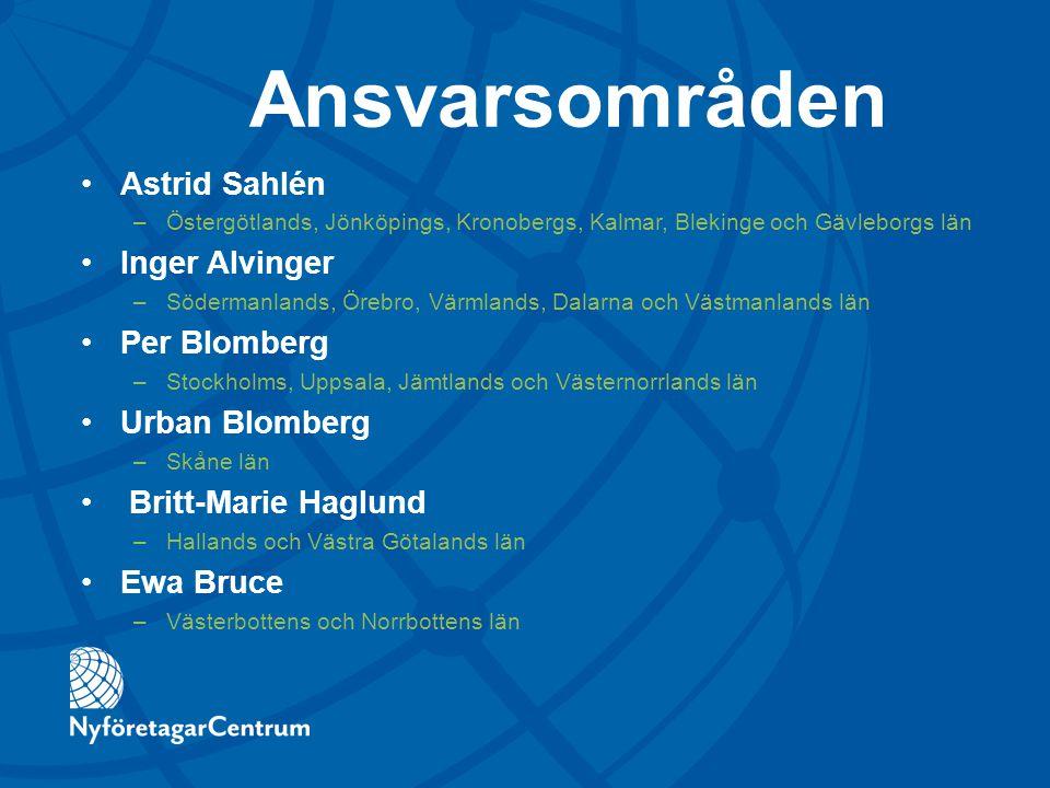 Ansvarsområden Astrid Sahlén –Östergötlands, Jönköpings, Kronobergs, Kalmar, Blekinge och Gävleborgs län Inger Alvinger –Södermanlands, Örebro, Värmla