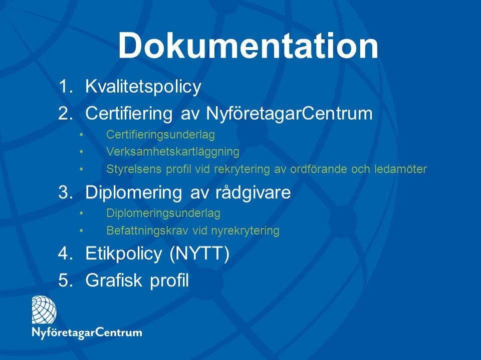 Dokumentation 1.Kvalitetspolicy 2.Certifiering av NyföretagarCentrum Certifieringsunderlag Verksamhetskartläggning Styrelsens profil vid rekrytering a