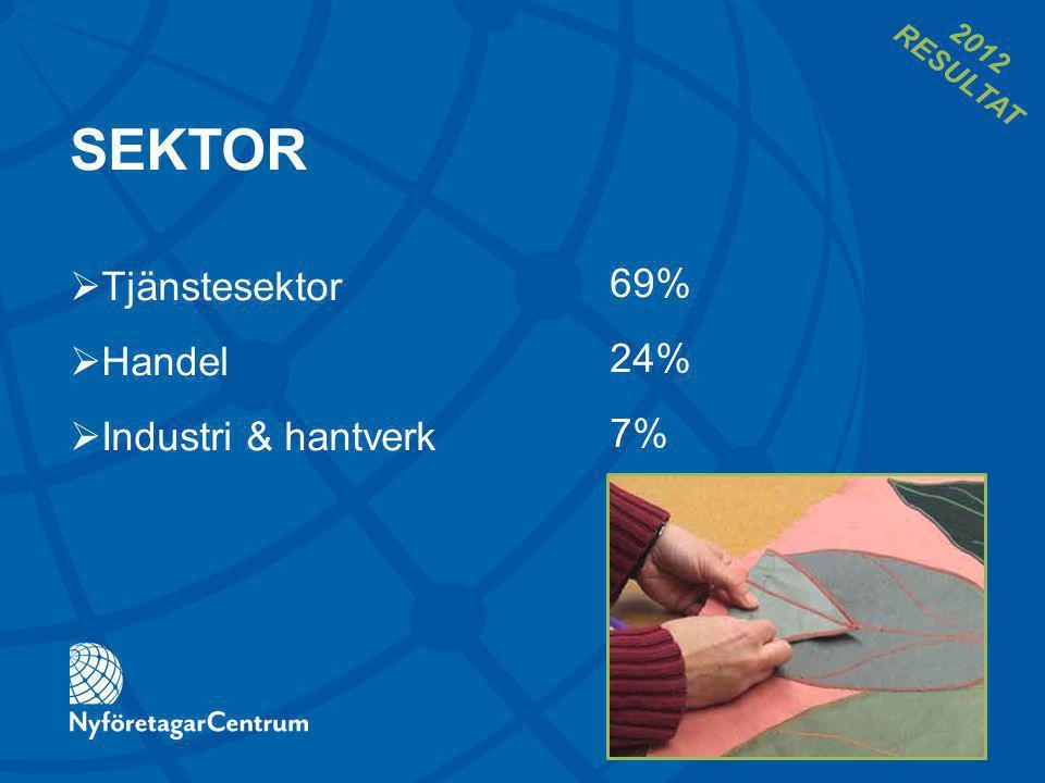 SEKTOR 69% 24% 7%  Tjänstesektor  Handel  Industri & hantverk 2012 RESULTAT