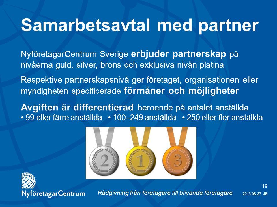 Rådgivning från företagare till blivande företagare 19 2013-08-27 JB NyföretagarCentrum Sverige erbjuder partnerskap på nivåerna guld, silver, brons och exklusiva nivån platina Respektive partnerskapsnivå ger företaget, organisationen eller myndigheten specificerade förmåner och möjligheter Avgiften är differentierad beroende på antalet anställda 99 eller färre anställda 100–249 anställda 250 eller fler anställda Samarbetsavtal med partner