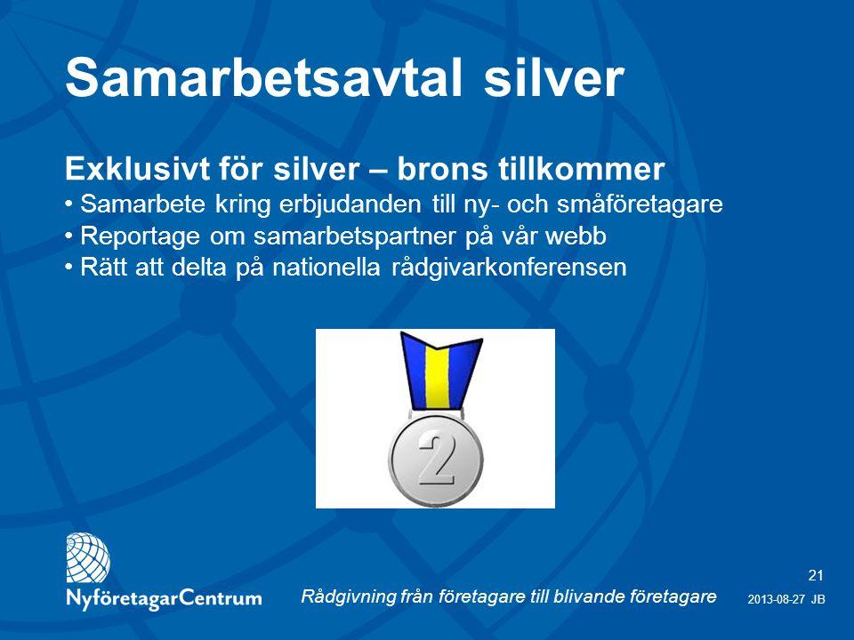 Rådgivning från företagare till blivande företagare 21 2013-08-27 JB Exklusivt för silver – brons tillkommer Samarbete kring erbjudanden till ny- och småföretagare Reportage om samarbetspartner på vår webb Rätt att delta på nationella rådgivarkonferensen Samarbetsavtal silver