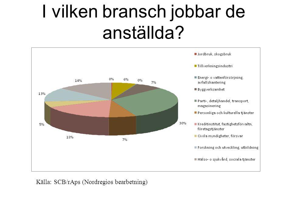 I vilken bransch jobbar de anställda Källa: SCB/rAps (Nordregios bearbetning)