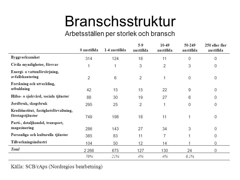 Branschsstruktur Arbetsställen per storlek och bransch 0 anställda1-4 anställda 5-9 anställda 10-49 anställda 50-249 anställda 250 eller fler anställd
