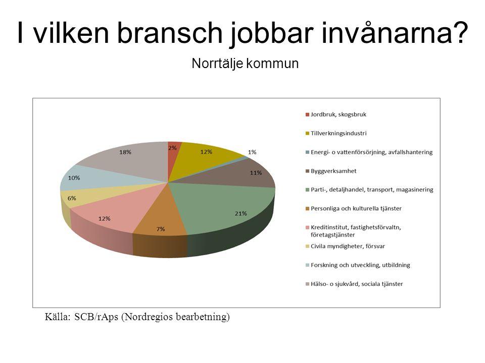 I vilken bransch jobbar invånarna Norrtälje kommun Källa: SCB/rAps (Nordregios bearbetning)