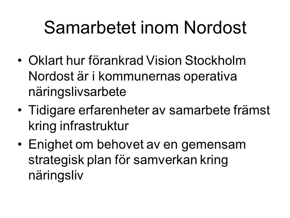 Samarbetet inom Nordost Oklart hur förankrad Vision Stockholm Nordost är i kommunernas operativa näringslivsarbete Tidigare erfarenheter av samarbete främst kring infrastruktur Enighet om behovet av en gemensam strategisk plan för samverkan kring näringsliv