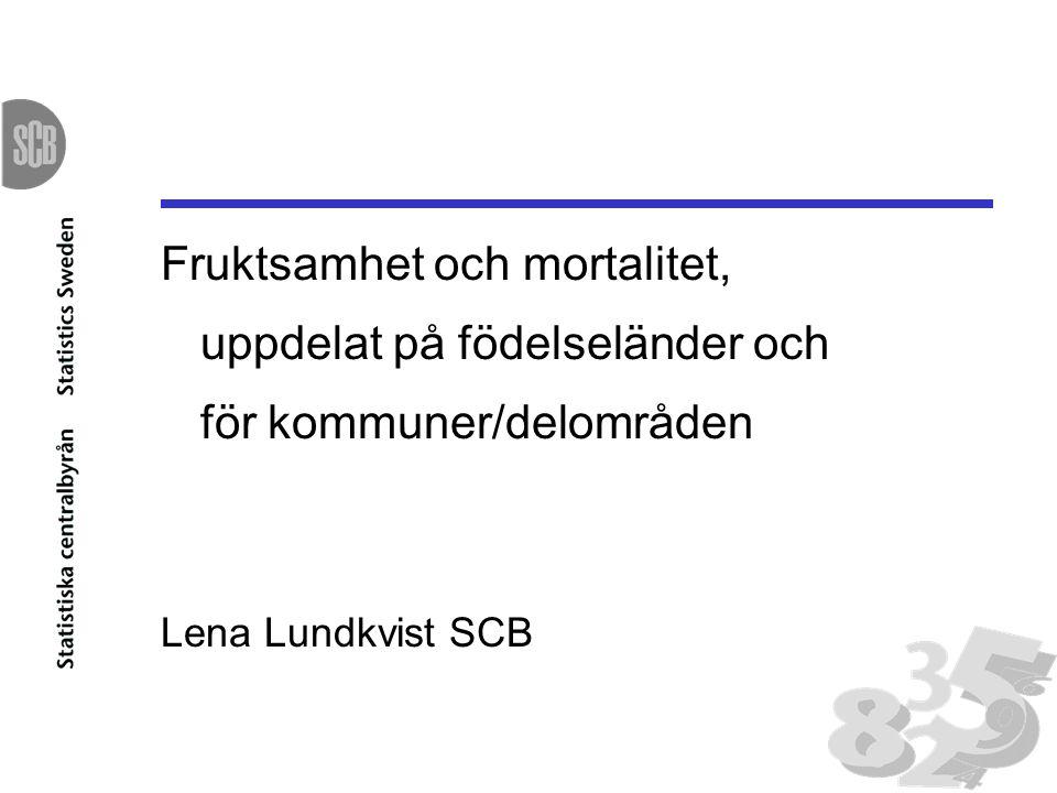 Fruktsamhet och mortalitet, uppdelat på födelseländer och för kommuner/delområden Lena Lundkvist SCB