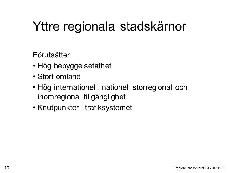 Regionplanekontoret GJ 2009-11-12 10 Förutsätter Hög bebyggelsetäthet Stort omland Hög internationell, nationell storregional och inomregional tillgän