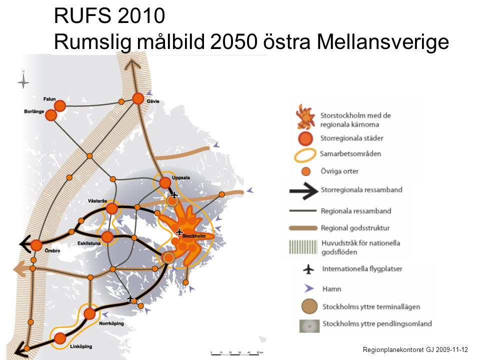 Regionplanekontoret GJ 2009-11-12 RUFS 2010 Rumslig målbild 2050 östra Mellansverige