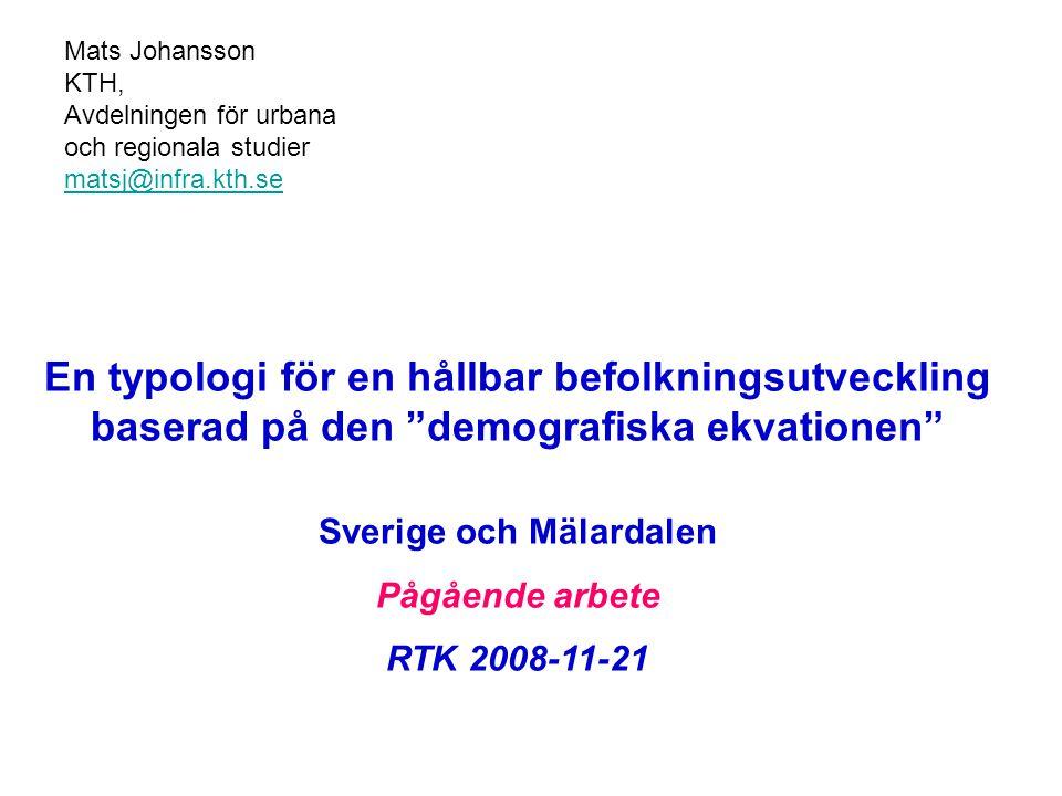 """Mats Johansson KTH, Avdelningen för urbana och regionala studier matsj@infra.kth.se En typologi för en hållbar befolkningsutveckling baserad på den """"d"""