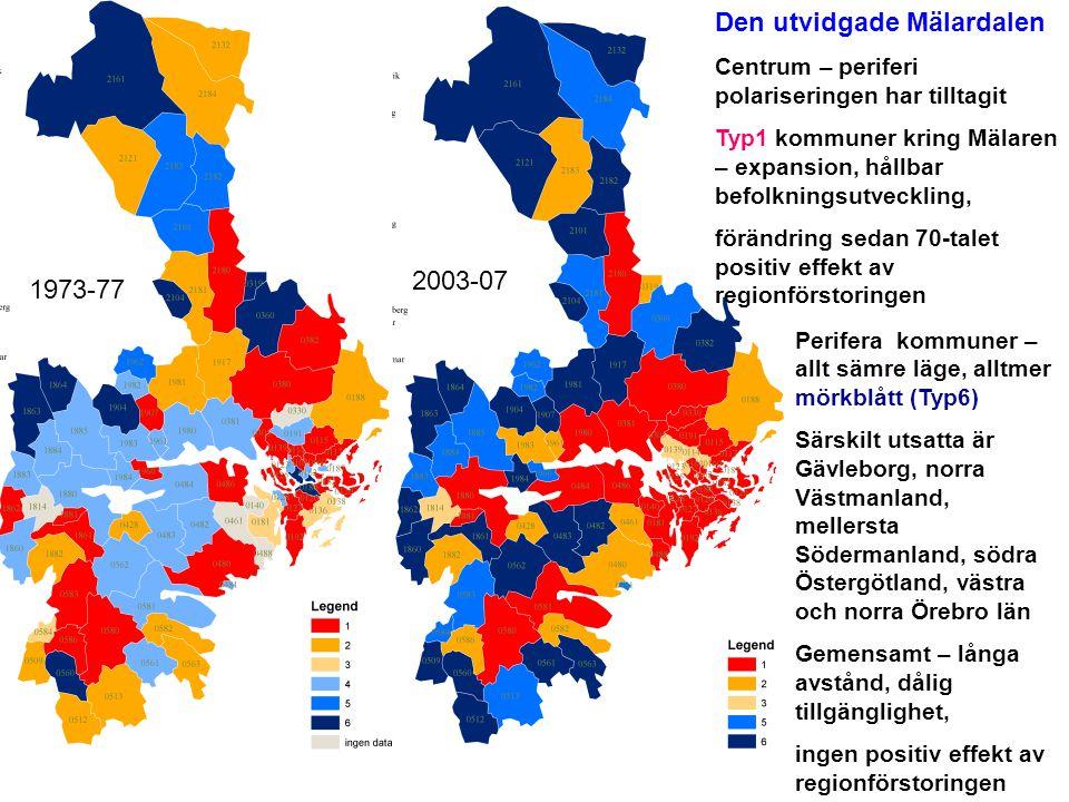 1973-77 2003-07 Den utvidgade Mälardalen Centrum – periferi polariseringen har tilltagit Typ1 kommuner kring Mälaren – expansion, hållbar befolkningsu
