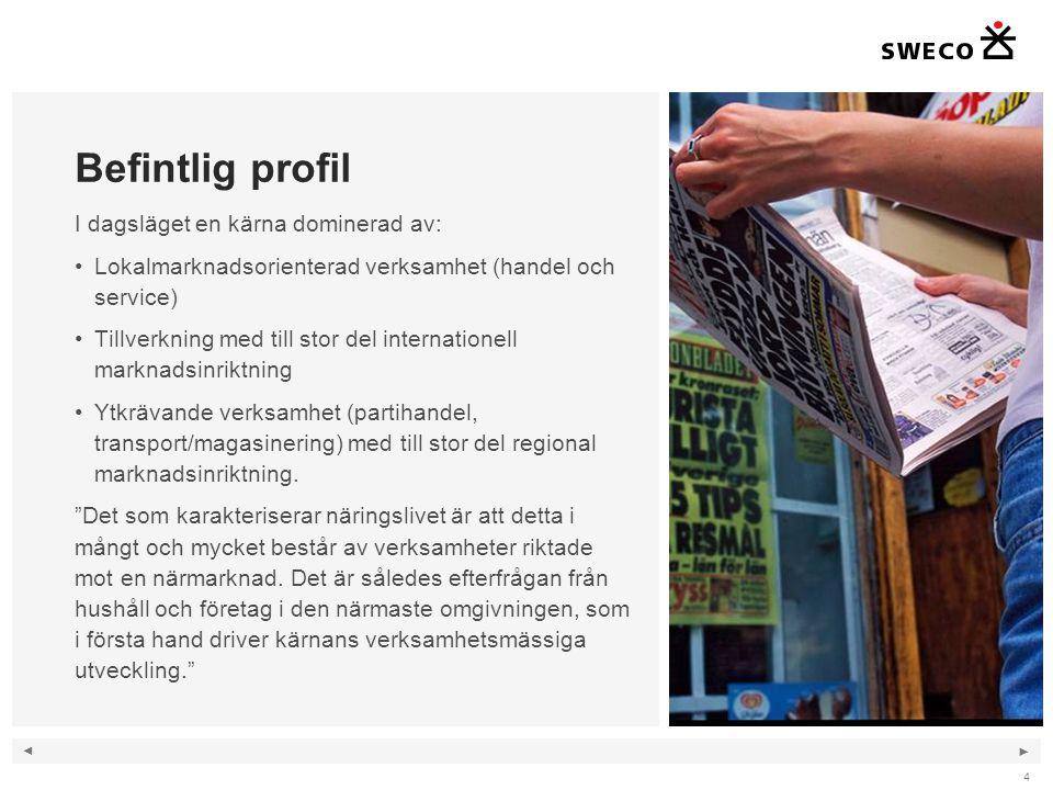 ◄ ► 4 Befintlig profil I dagsläget en kärna dominerad av: Lokalmarknadsorienterad verksamhet (handel och service) Tillverkning med till stor del inter