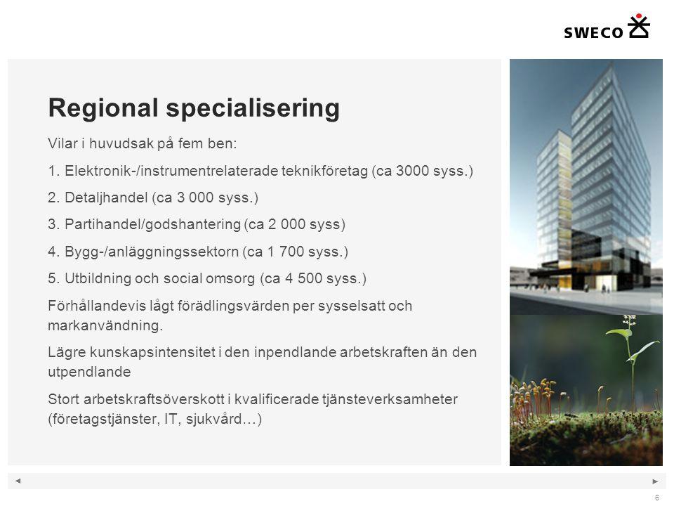 ◄ ► 6 Regional specialisering Vilar i huvudsak på fem ben: 1. Elektronik-/instrumentrelaterade teknikföretag (ca 3000 syss.) 2. Detaljhandel (ca 3 000