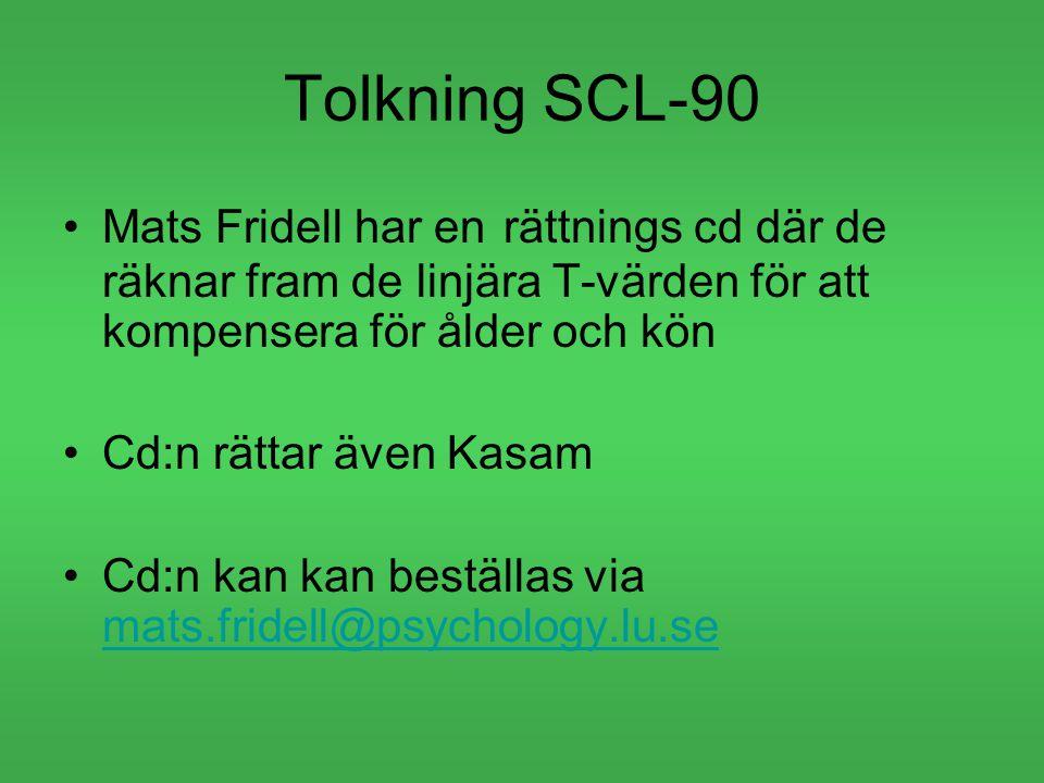Tolkning SCL-90 Mats Fridell har en rättnings cd där de räknar fram de linjära T-värden för att kompensera för ålder och kön Cd:n rättar även Kasam Cd:n kan kan beställas via mats.fridell@psychology.lu.se mats.fridell@psychology.lu.se