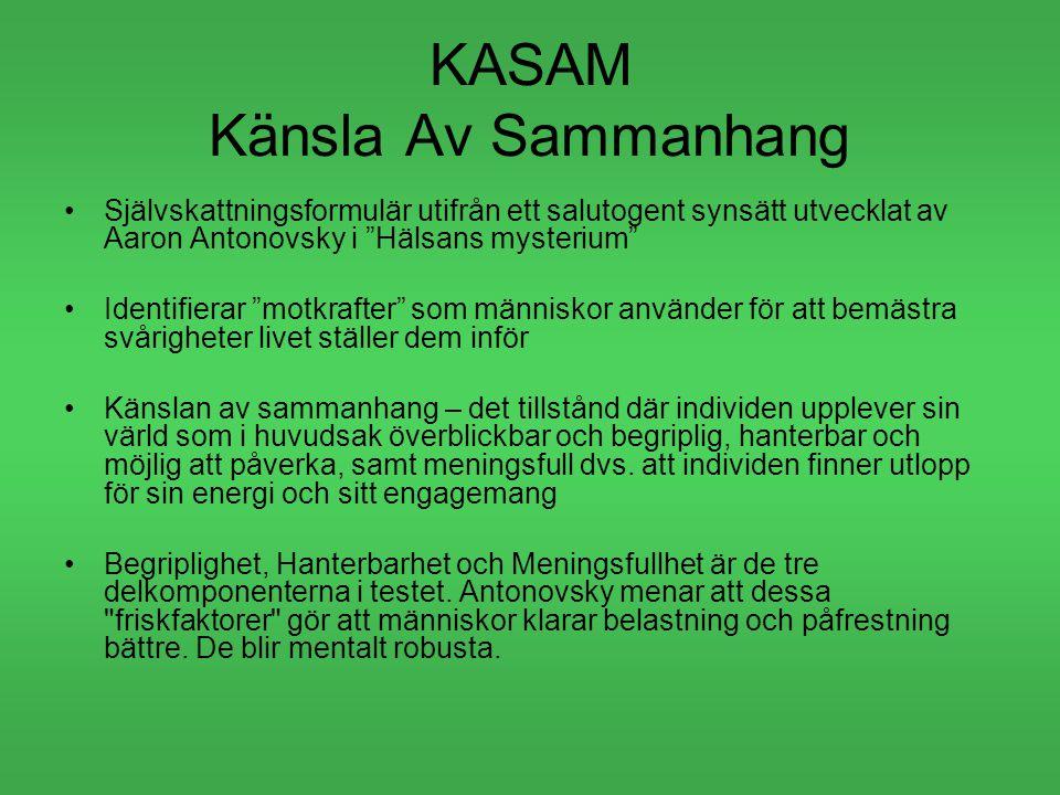 """KASAM Känsla Av Sammanhang Självskattningsformulär utifrån ett salutogent synsätt utvecklat av Aaron Antonovsky i """"Hälsans mysterium"""" Identifierar """"mo"""