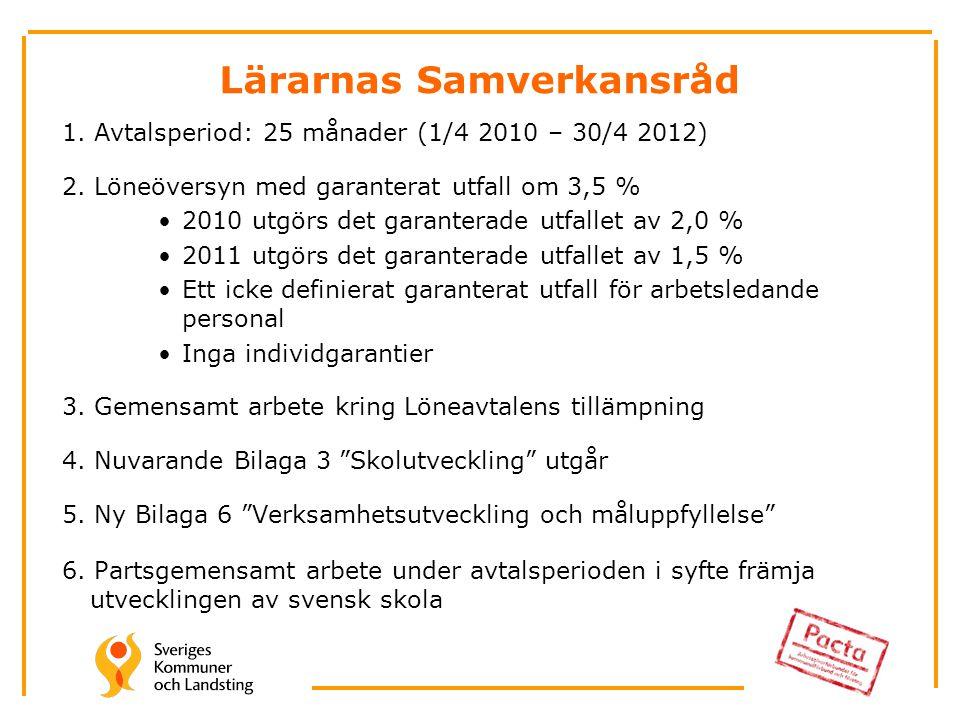 Lärarnas Samverkansråd 1. Avtalsperiod: 25 månader (1/4 2010 – 30/4 2012) 2.