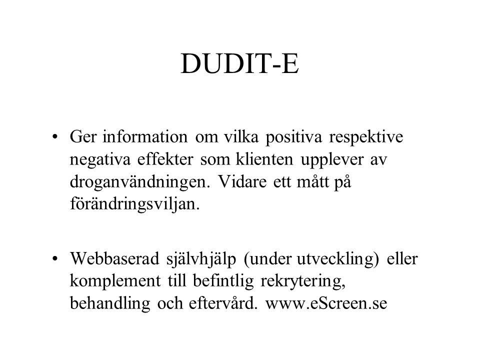 DUDIT-E Ger information om vilka positiva respektive negativa effekter som klienten upplever av droganvändningen. Vidare ett mått på förändringsviljan