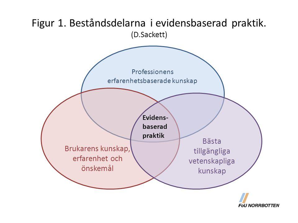 Figur 1. Beståndsdelarna i evidensbaserad praktik. (D.Sackett) Professionens erfarenhetsbaserade kunskap Brukarens kunskap, erfarenhet och önskemål Bä