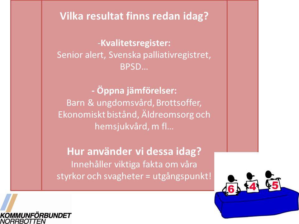 Vilka resultat finns redan idag? -Kvalitetsregister: Senior alert, Svenska palliativregistret, BPSD… - Öppna jämförelser: Barn & ungdomsvård, Brottsof