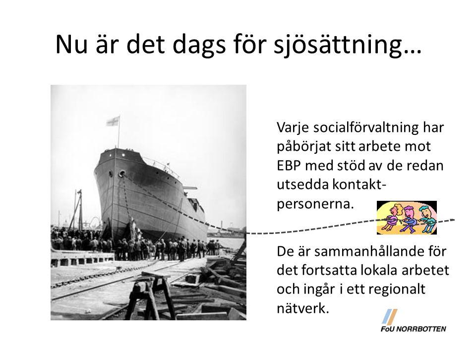 Nu är det dags för sjösättning… Varje socialförvaltning har påbörjat sitt arbete mot EBP med stöd av de redan utsedda kontakt- personerna. De är samma