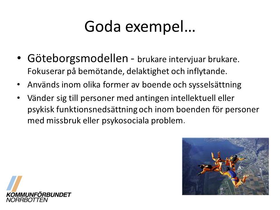 Goda exempel… Göteborgsmodellen - brukare intervjuar brukare. Fokuserar på bemötande, delaktighet och inflytande. Används inom olika former av boende