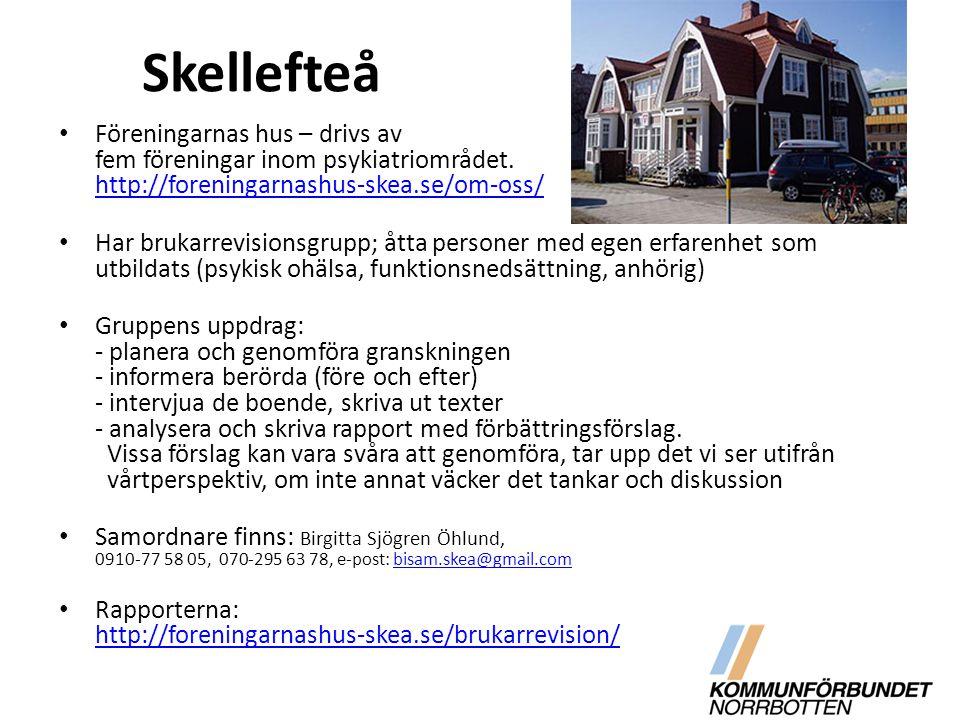Skellefteå Föreningarnas hus – drivs av fem föreningar inom psykiatriområdet. http://foreningarnashus-skea.se/om-oss/ http://foreningarnashus-skea.se/