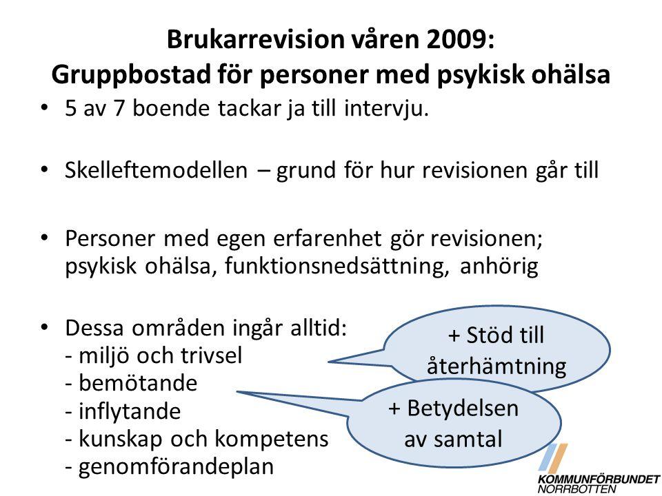 Brukarrevision våren 2009: Gruppbostad för personer med psykisk ohälsa 5 av 7 boende tackar ja till intervju. Skelleftemodellen – grund för hur revisi