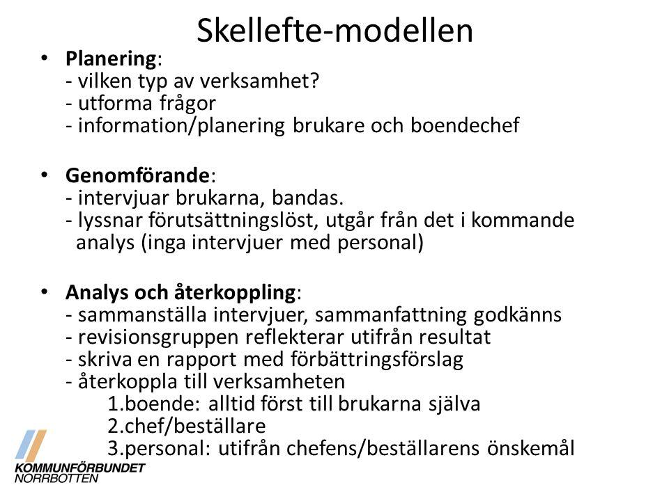 Skellefte-modellen Planering: - vilken typ av verksamhet? - utforma frågor - information/planering brukare och boendechef Genomförande: - intervjuar b