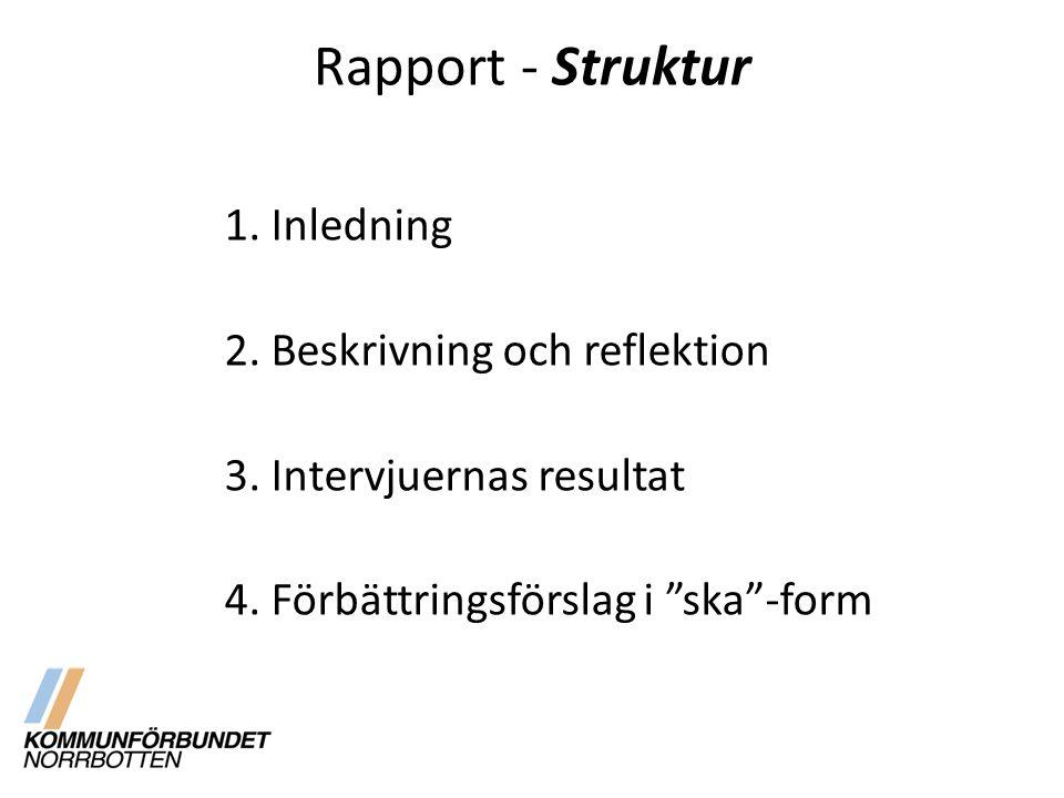 """Rapport - Struktur 1. Inledning 2. Beskrivning och reflektion 3. Intervjuernas resultat 4. Förbättringsförslag i """"ska""""-form"""