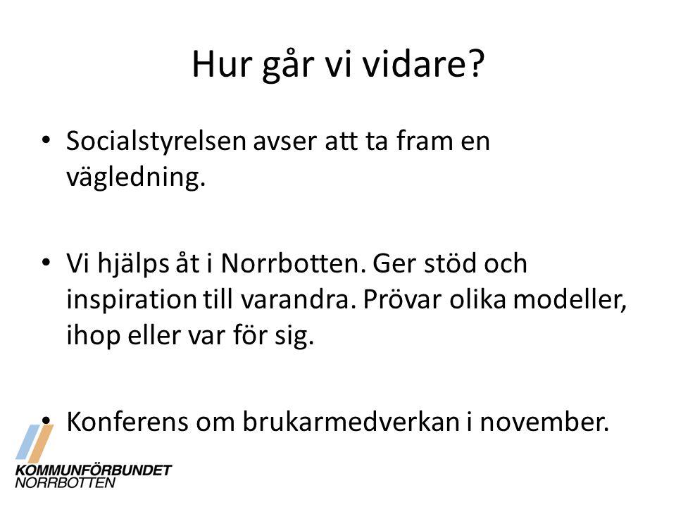 Hur går vi vidare? Socialstyrelsen avser att ta fram en vägledning. Vi hjälps åt i Norrbotten. Ger stöd och inspiration till varandra. Prövar olika mo