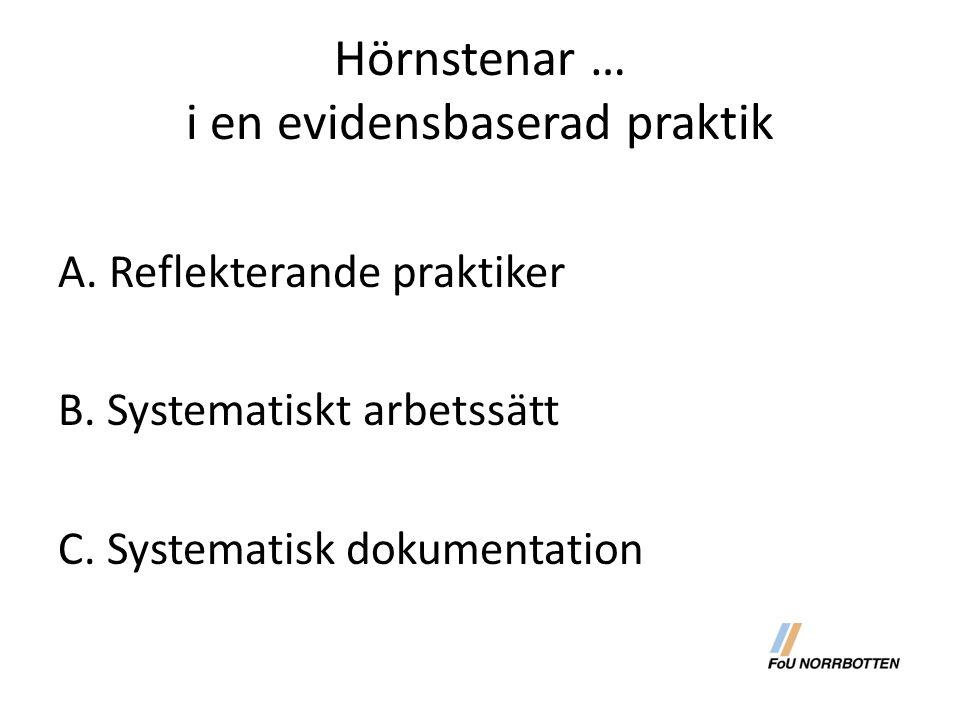 Hörnstenar … i en evidensbaserad praktik A. Reflekterande praktiker B. Systematiskt arbetssätt C. Systematisk dokumentation