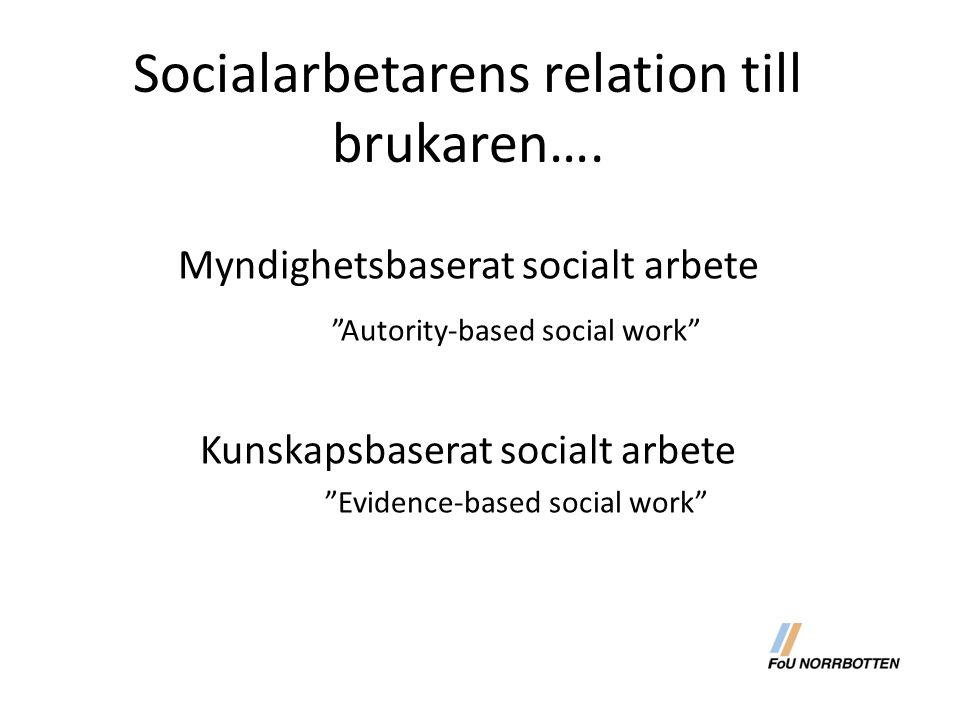 """Socialarbetarens relation till brukaren…. Myndighetsbaserat socialt arbete """"Autority-based social work"""" Kunskapsbaserat socialt arbete """"Evidence-based"""