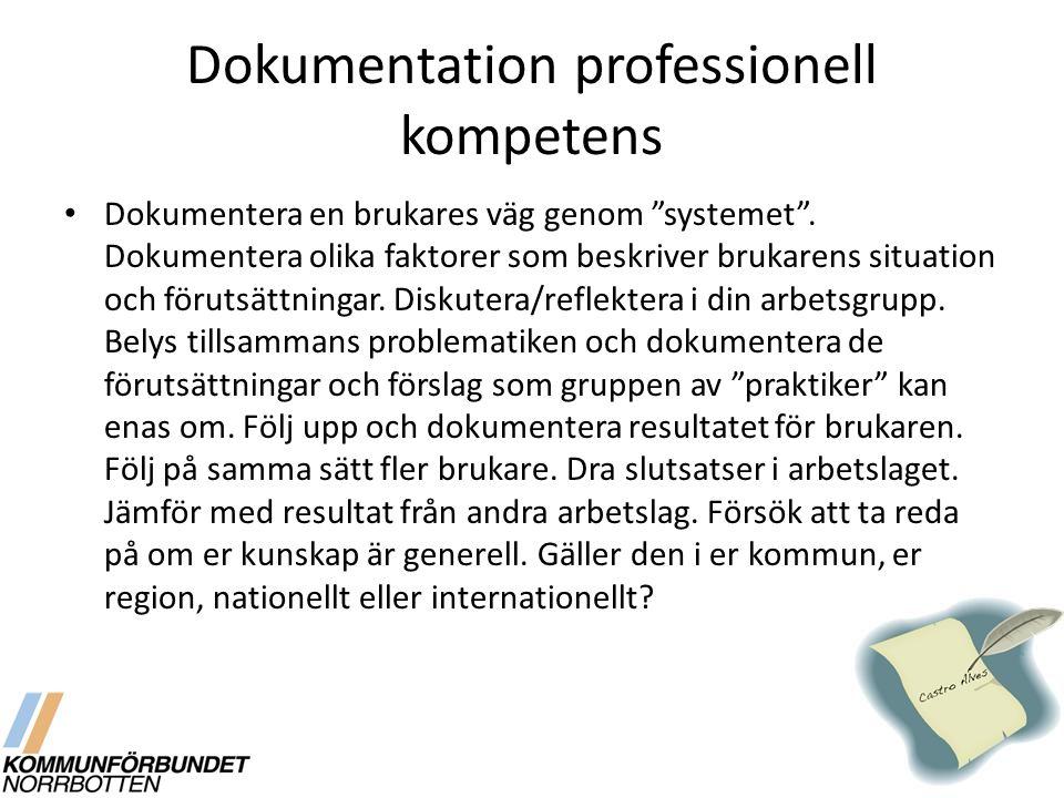 """Dokumentation professionell kompetens Dokumentera en brukares väg genom """"systemet"""". Dokumentera olika faktorer som beskriver brukarens situation och f"""