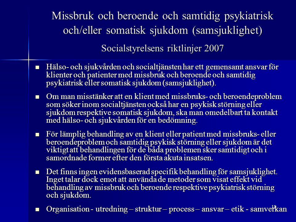 11 Missbruk och beroende och samtidig psykiatrisk och/eller somatisk sjukdom (samsjuklighet) Socialstyrelsens riktlinjer 2007 Hälso- och sjukvården oc