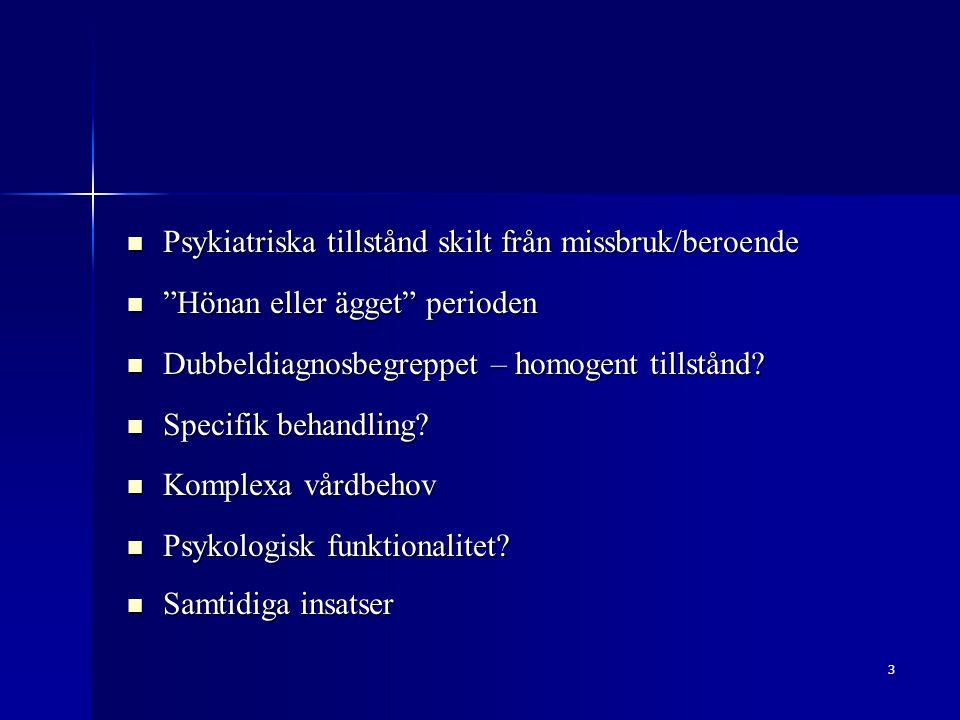 """3 Psykiatriska tillstånd skilt från missbruk/beroende Psykiatriska tillstånd skilt från missbruk/beroende """"Hönan eller ägget"""" perioden """"Hönan eller äg"""