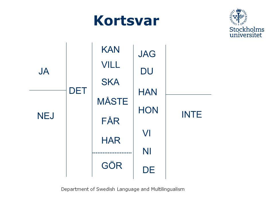 Department of Swedish Language and Multilingualism Kortsvar JA NEJ DET KAN VILL SKA MÅSTE FÅR GÖR JAG DU HAN HON VI NI DE INTE HAR