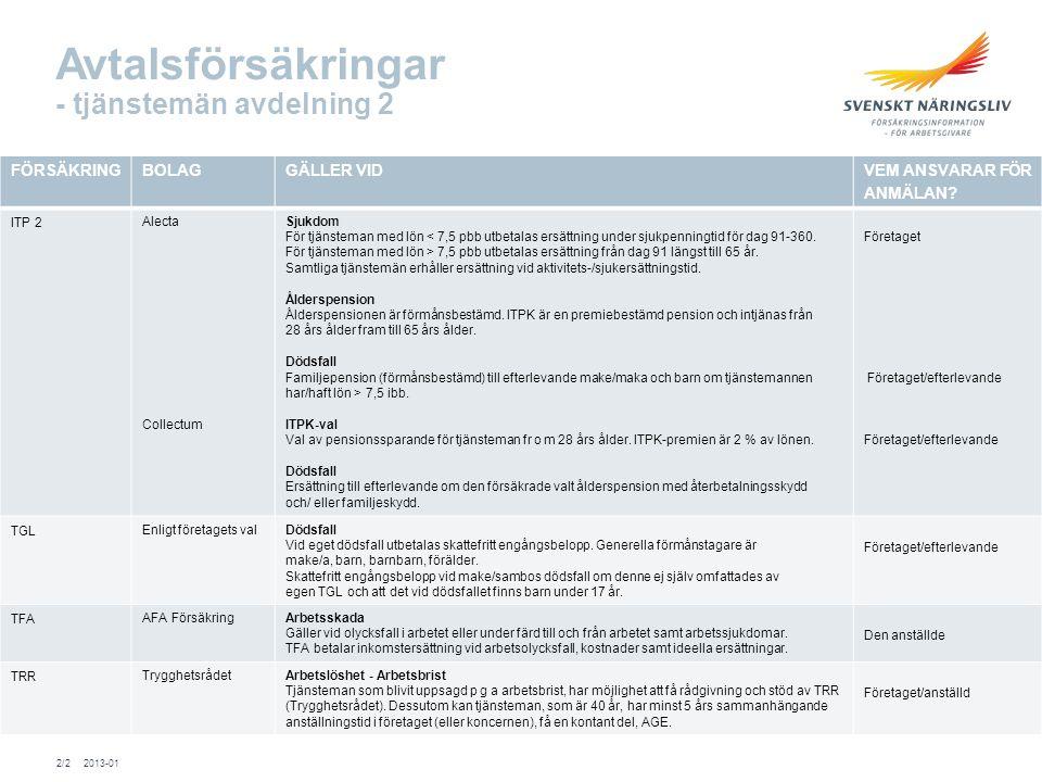 Avtalsförsäkringar - tjänstemän avdelning 2 FÖRSÄKRINGBOLAGGÄLLER VIDVEM ANSVARAR FÖR ANMÄLAN.