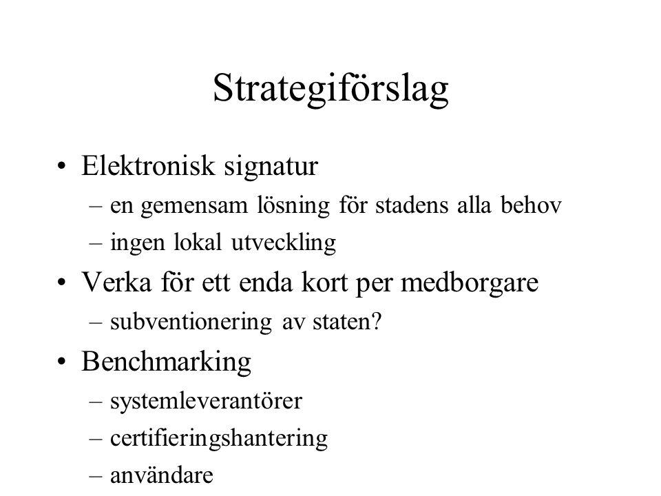 Strategiförslag Elektronisk signatur –en gemensam lösning för stadens alla behov –ingen lokal utveckling Verka för ett enda kort per medborgare –subventionering av staten.