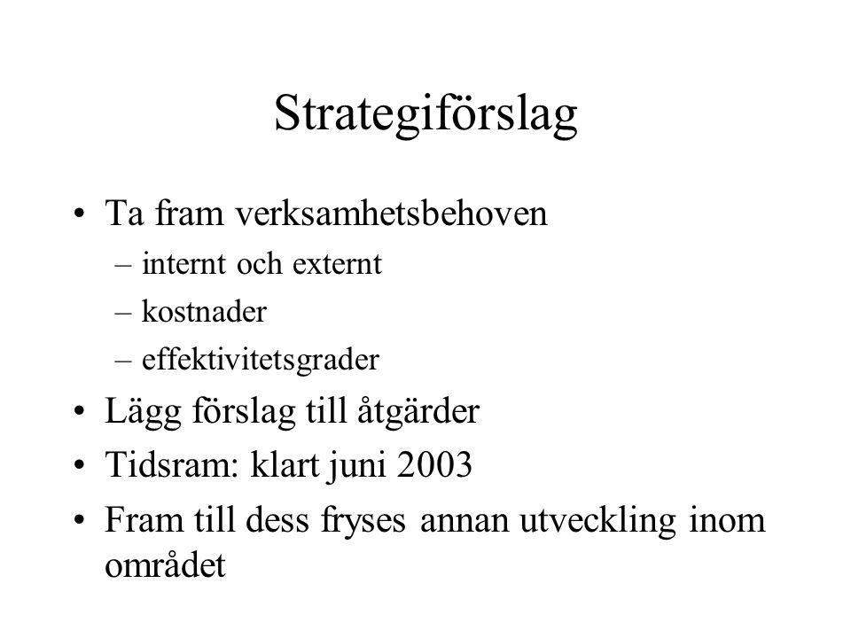 Strategiförslag Ta fram verksamhetsbehoven –internt och externt –kostnader –effektivitetsgrader Lägg förslag till åtgärder Tidsram: klart juni 2003 Fr