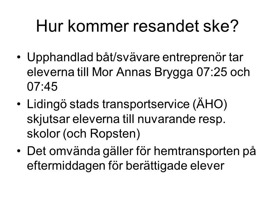 Hur kommer resandet ske? Upphandlad båt/svävare entreprenör tar eleverna till Mor Annas Brygga 07:25 och 07:45 Lidingö stads transportservice (ÄHO) sk