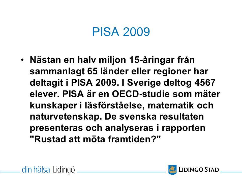 PISA 2009 Nästan en halv miljon 15-åringar från sammanlagt 65 länder eller regioner har deltagit i PISA 2009.
