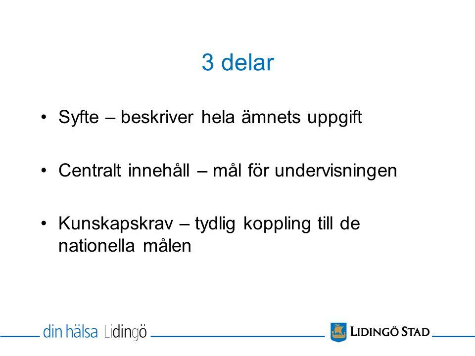 3 delar Syfte – beskriver hela ämnets uppgift Centralt innehåll – mål för undervisningen Kunskapskrav – tydlig koppling till de nationella målen