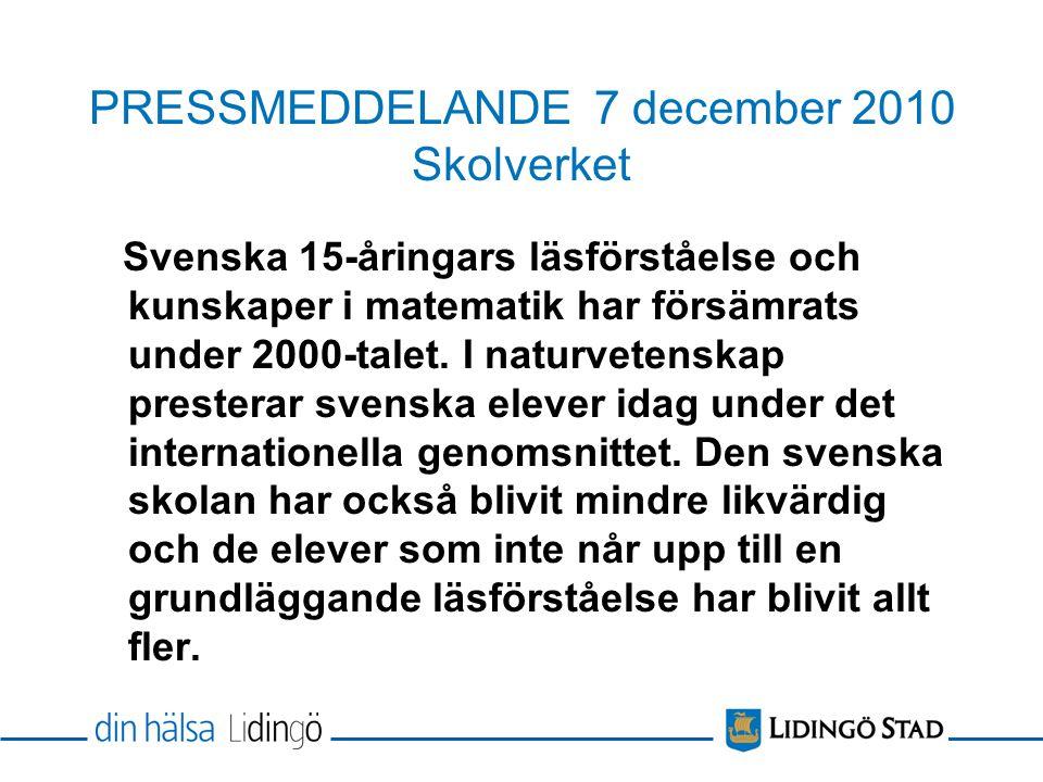 PRESSMEDDELANDE 7 december 2010 Skolverket Svenska 15-åringars läsförståelse och kunskaper i matematik har försämrats under 2000-talet.